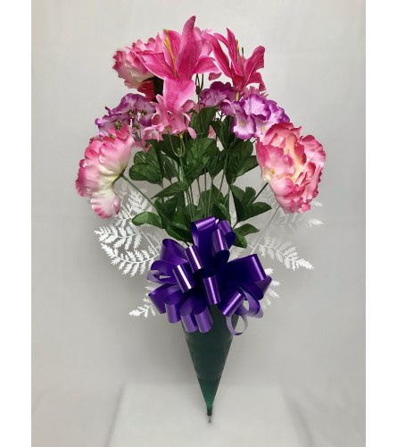 Silk Bouquet for Grave (Pink)