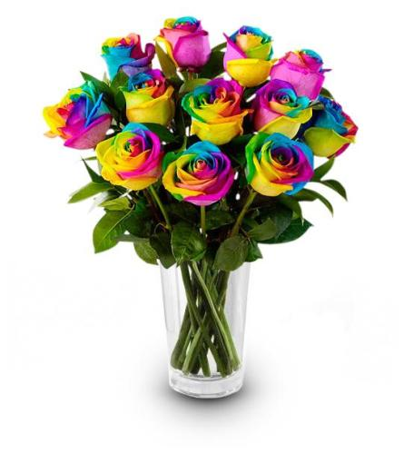 Dozen Rainbow Roses Arrangement