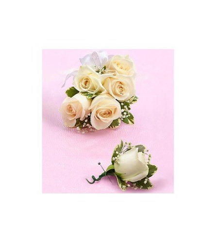 Prom White Rose Corsage & Boutonniere