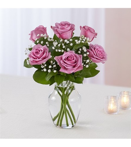 6 Lavender Roses w/vase