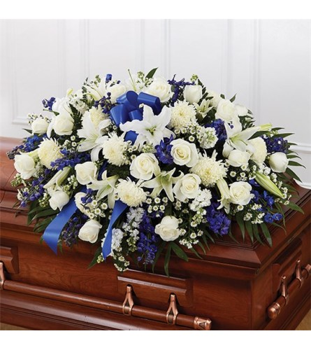 Sympathy Blue & White Half Casket Cover