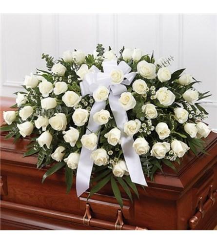Sympathy White Roses Half Casket Cover