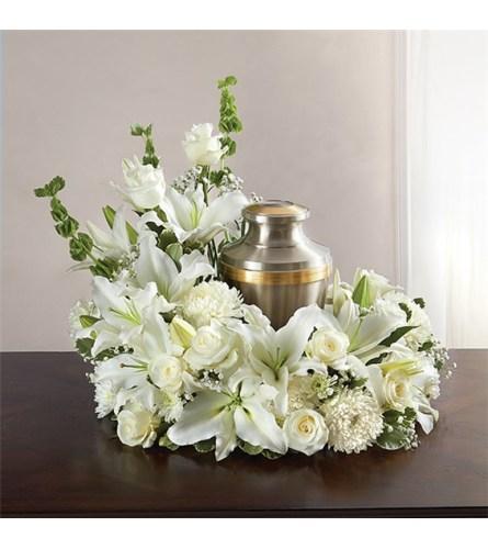 Sympathy Cremation Wreath All White