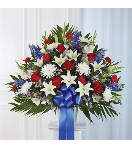 Sympathy Standing Basket Blue, Red & White