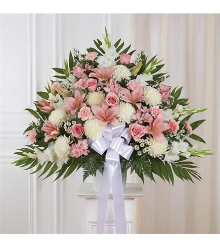 Sympathy Standing Basket Pink & White