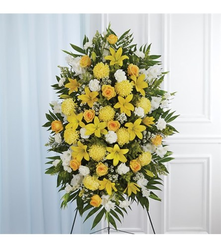 Sympathy Yellow & White Standing Spray