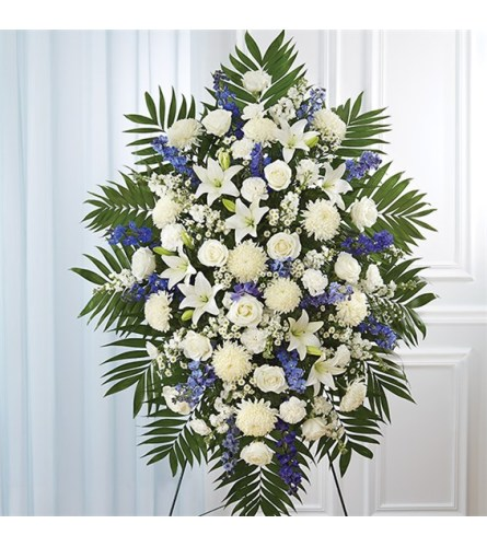 Sympathy Blue & White Standing Spray