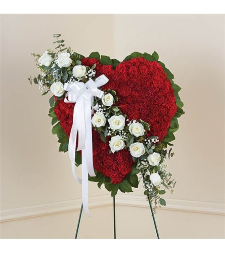 Sympathy Red With White Roses Solid Heart Standing