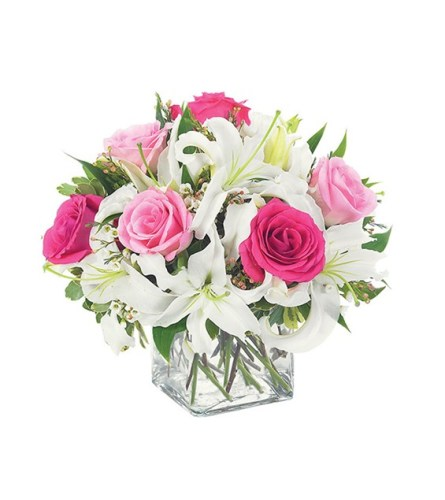 Lovely Lily & Pink Rose Cube