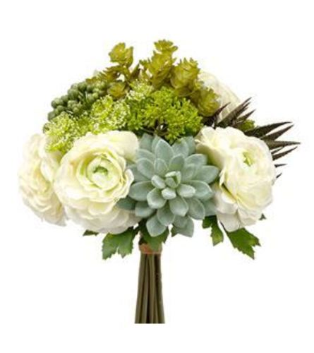 White Floral w/ Succulent Nosegay