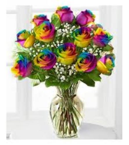 Let's celebrate!  Rainbow roses