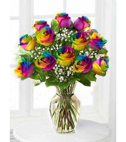 Celebrate ! Rainbow Roses Style