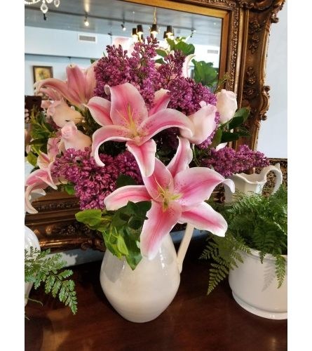 LILACS AND LILIES PITCHER