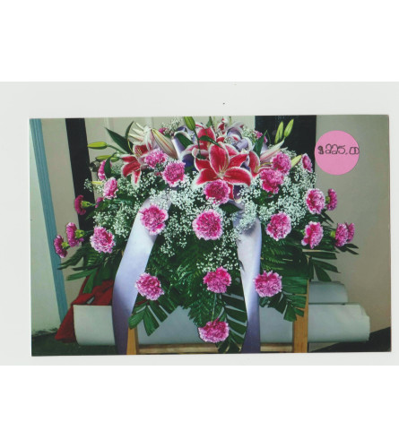 Casket W/ Carnations, Lillys & Filler