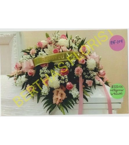 Casket W/ Mixed Flowers, 6 Boutonnieres & Banner