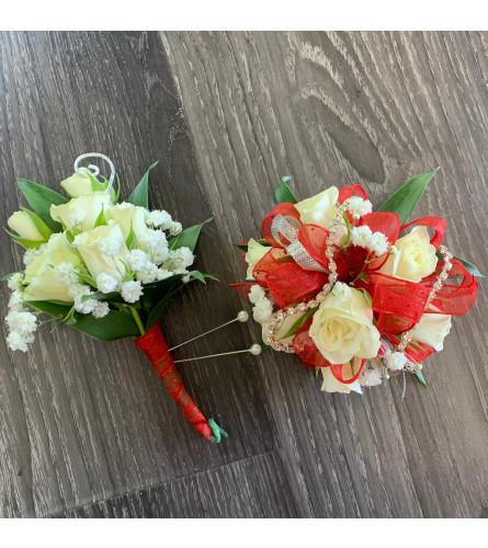 Red Mini Roses and Diamonds Duo
