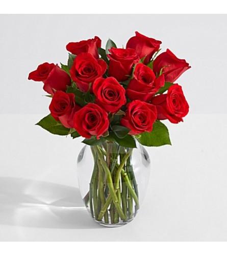 Dozen Assorted Short Roses in a vase