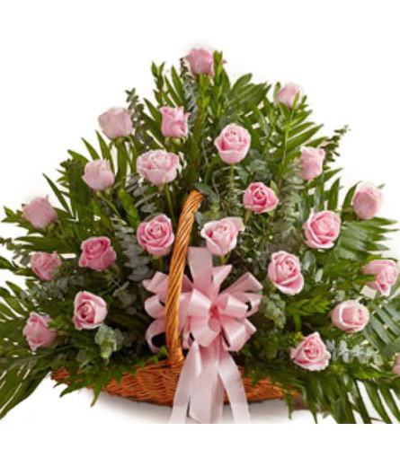 Colombian Pink Rose Basket