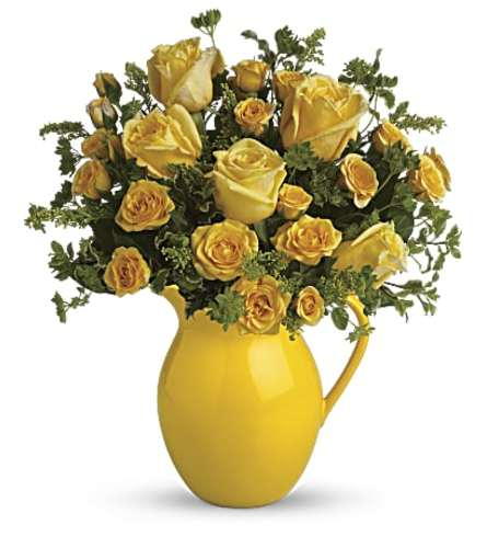 Sunny Day Pitcher of Roses Bouquet