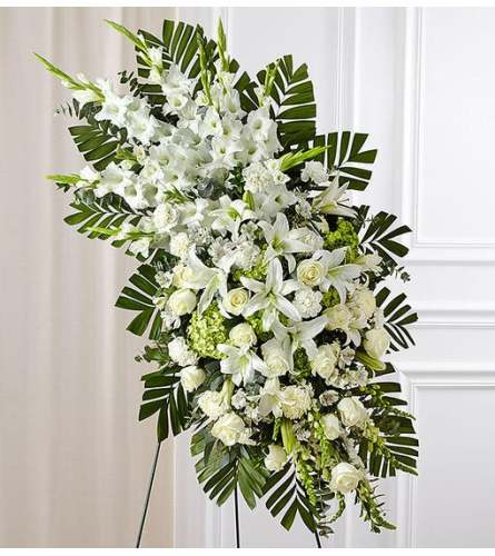 Beautiful White Rose and Lily Standing Spray