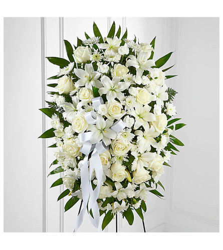 All White Exquisite Tribute™ Standing Spray
