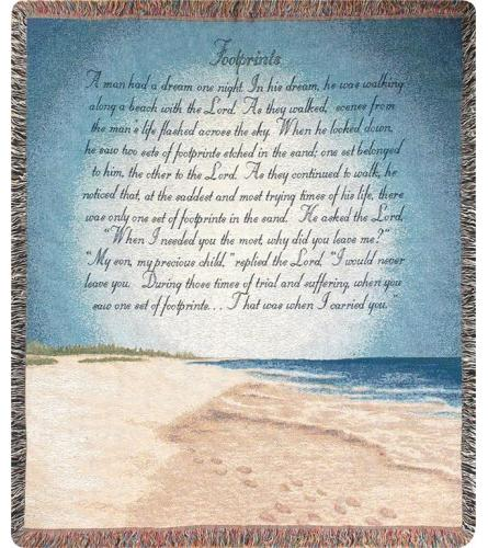 Tapestry Throw - Footprints In The Sand