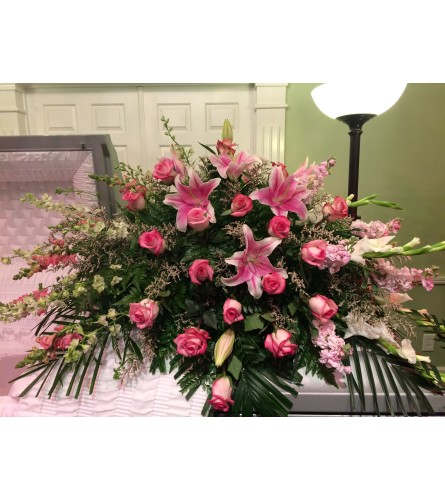 Custom Designed Pink Casket Cover