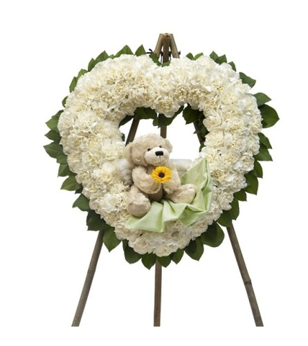 Heart Wreath with Teddy Bear