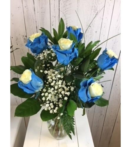 Vibrant Bicolor Rose blue