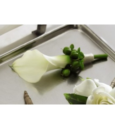 White Calla Boutonniere *PLEASE CALL TO ORDER*