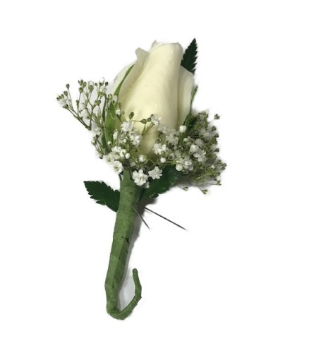 White Rose Boutonniere *PLEASE CALL TO ORDER*
