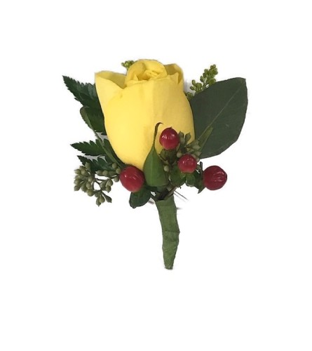 Yellow Rose And Berries Boutonniere *PLEASE CALL TO ORDER*
