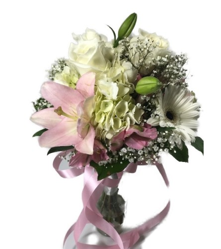 Pink and White Mixed Hand Tied Bouquet *PLEASE CALL TO ORDER*