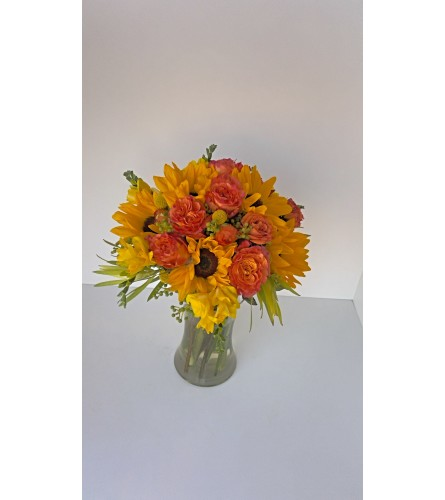 Autumn Sunflowers and Roses