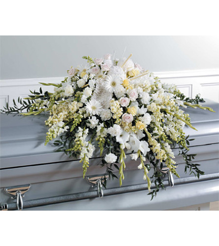 White Casket Spray Knitting Accents