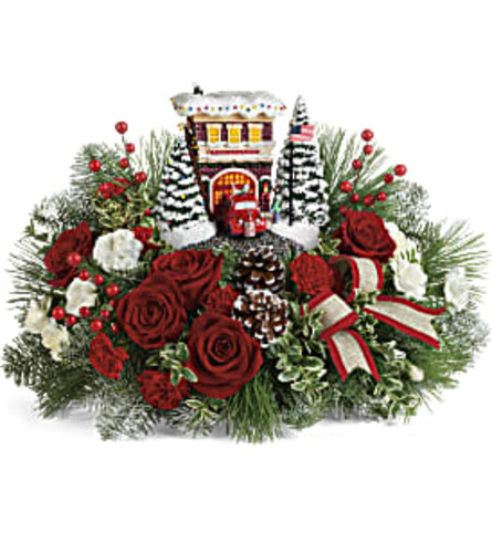Thomas Kinkade's Festive Fire Station Bouquet by Teleflora