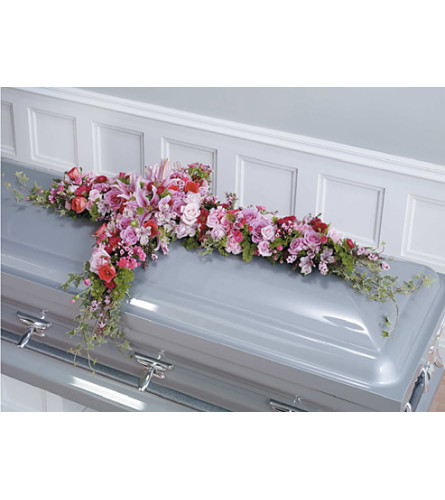 Pink and Magenta Cross Casket Spay