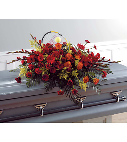 Tennis-Themed Casket Spay