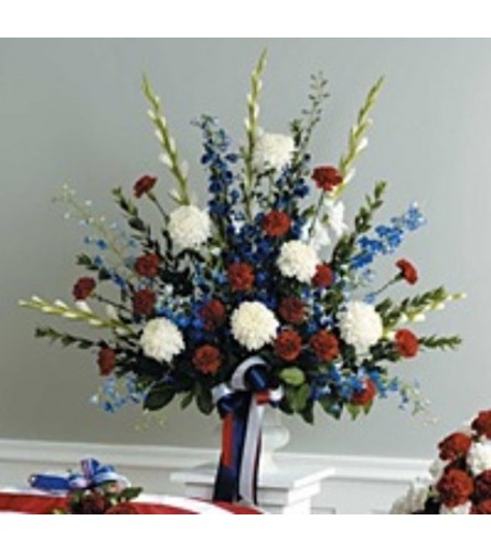 Red ,White and Blue Urn Arrangement