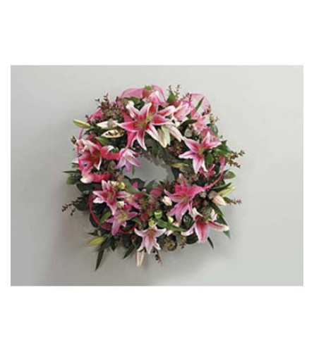Lily and Eucalyptus Wreath