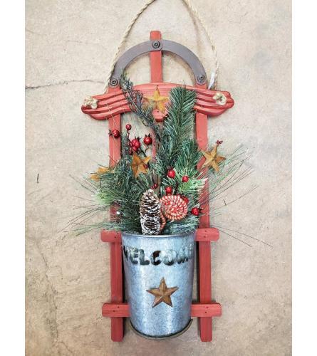 Red Sleigh Door Hanger