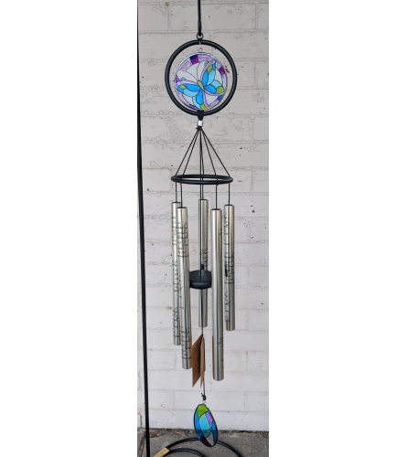 "35"" Stain Glass Butterfly Wind Chime"