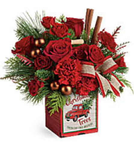 Teleflora's Merry Vintage Christmas Bouquet Tin 2019