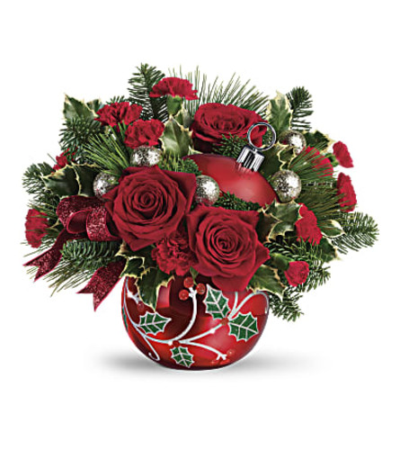 The Teleflora's Deck The Holly Ornament Bouquet