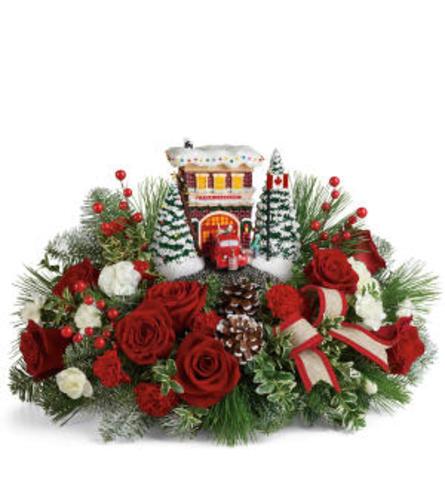 Thomas Kinkade's Festive Fire Station Bouquet1