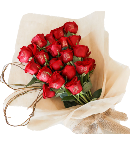 """BOUQUET with """"HAPPY BIRTHDAY """" message."""