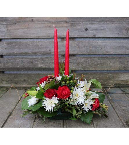 2 Candle Christmas Arrangement