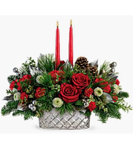 Silver and Red Stunning Centerpiece