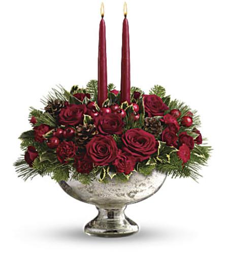 The Teleflora Mercury Glass Bowl Bouquet