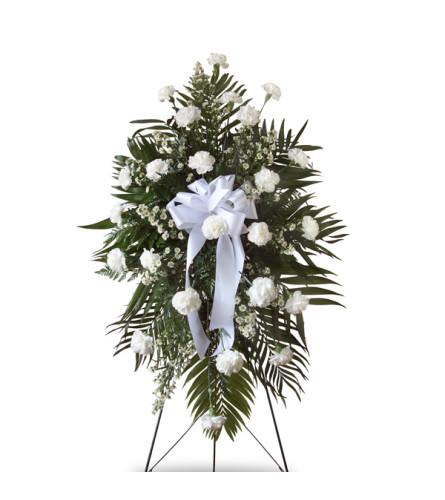 White Carnation Standing Spray